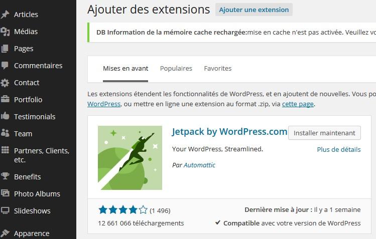 insérer des extensions sous wordpress