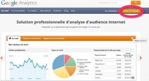 Voici la page d'accueil du site Google Analytics