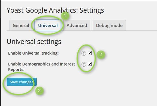 paramétrage onlget universal dans google analytics de yoast