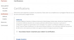 "Voici l'onglet ""Certifications"" sous Google partners"
